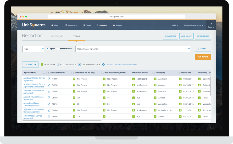 Screenshot of smart values